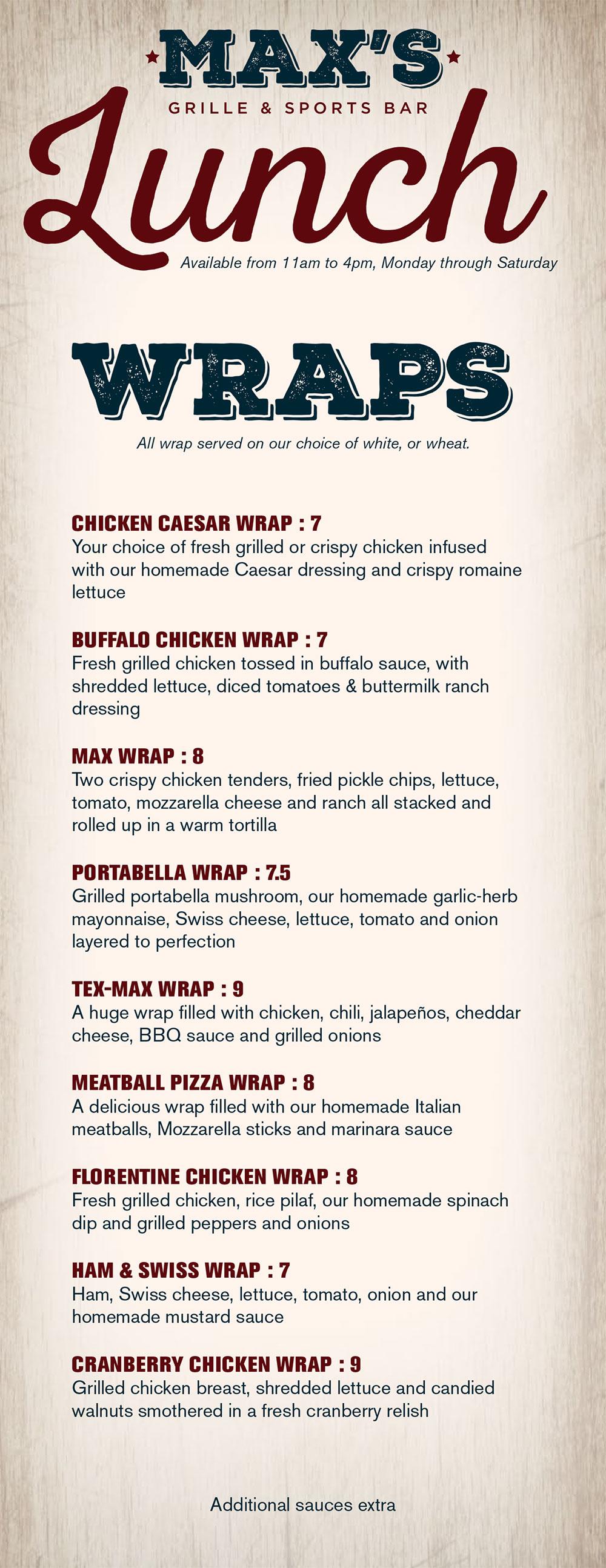 Lunch Menu Page 1